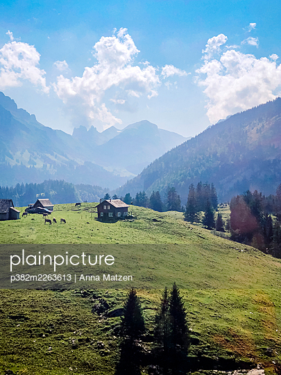 Mountain farm in the Alps - p382m2263613 by Anna Matzen