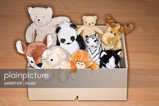 Soft toys in cardboard box