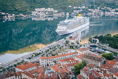 Cruise ship in Kotor Bay, Montenegro - p1600m2184195 by Ole Spata