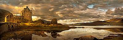 Castle and still rural lake, Isle of Skye, Isle of Skye, Scotland - p555m1454199 by Chris Clor