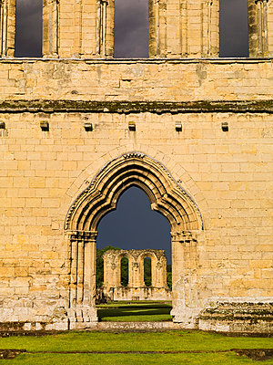 Byland Abbey. View through the west entrance along the nave. - p8551714 by James O. Davies