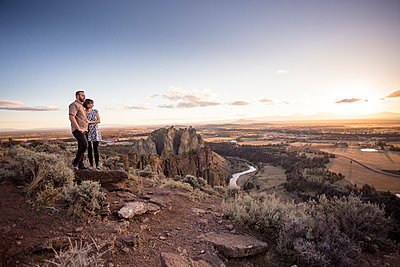 Engaged Couple at Smith Rock in Oregon - p343m1168071 by Joshua Rainey