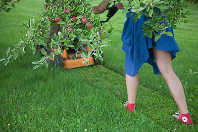 Woman In Blue Dress Cuts The Grass With A Lawn Mower Engine (Kvinna i blå klänning klipper gräset med en motorgräsklippare) - p847m673326 by Johan Strindberg
