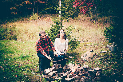 Lake George Fall Couples Portrait  - p1086m1488798 by Carrie Marie Burr