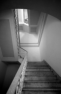 Staircase in a Cuban Hotel - p1121m949100 by Gail Symes
