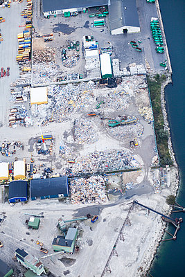 Aerial view of recycling factory - p1185m994297f by Astrakan