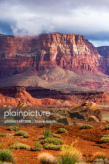 Scenic view of desert landscape - p555m1481998 by Steve Smith
