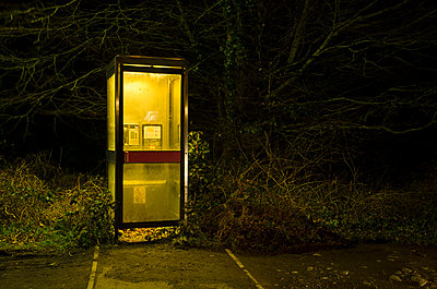 Illuminated Phone Box in Front of Nighttime Tree - p1072m1056652 by chinch gryniewicz
