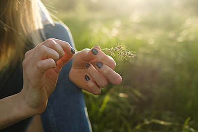 Woman holding grass stalk - p1363m2122483 by Valery Skurydin