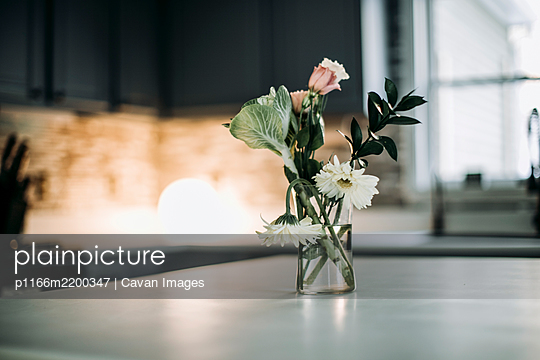 flowers sit in vase on white countertop in domestic kitchen by window - p1166m2200347 by Cavan Images