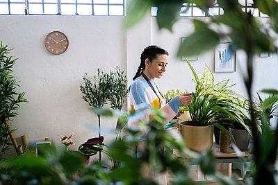 Young woman working in a gardening laboratory or plant shop - p300m2275342 von Giorgio Fochesato