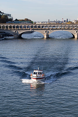 Boat on the river Seine - p445m1184765 by Marie Docher