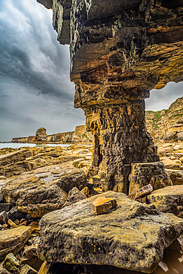 Inside Marsden Rock, a 100 feet (30 metre) sea stack off the North East coast of England, situated at Marsden, South Shields; South Shields, Tyne and Wear, England - p442m2112905 by Philip Payne