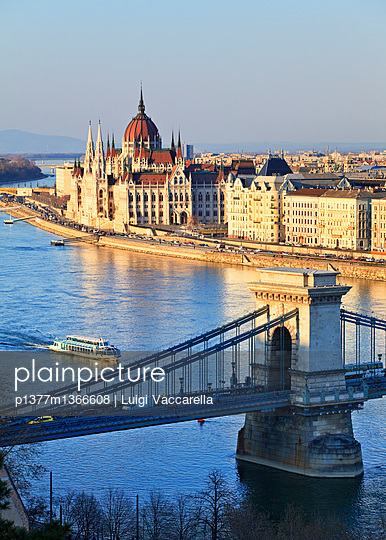 View from Buda Castle over the Danube river, Chain Bridge (Szechenyl Lanchid) and Parliament - p1377m1366608 by Luigi Vaccarella