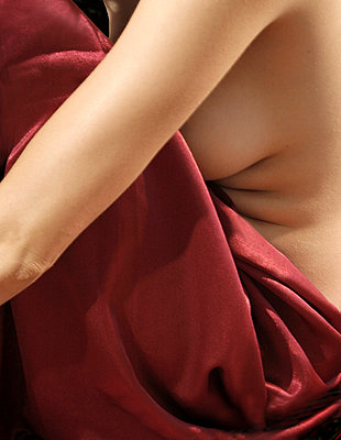 Woman and red velvet - p4760323 by Ilona Wellmann
