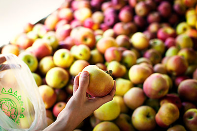 Cropped image of hand holding apple at market stall - p1166m995200f by Cavan Images