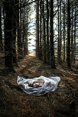 Dead body in the forest - p1019m2073363 by Stephen Carroll
