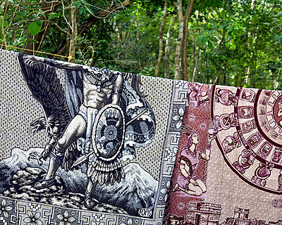 Blankets with Maya themes, Mexico - p1542m2173626 by Roger Grasas
