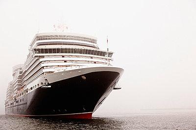 View of cruiseship at River Elbe - p300m718929f by Mel Stuart