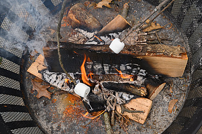 Fire pit with roasted marshmallows on sticks - p1427m2174026 by Jamie Grill