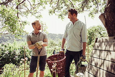 Smiling men talking while gardening at yard - p426m958696f by Maskot