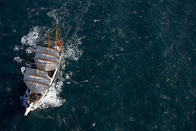 """""""Traditional boat sailing on ocean, German Navy sail boat """"""""Gorch Fock"""""""" in waters close to Reykjavik, Iceland"""" - p429m1450382 by Henn Photography"""