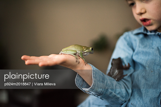Girl with pet frogs - p924m2018847 by Viara Mileva