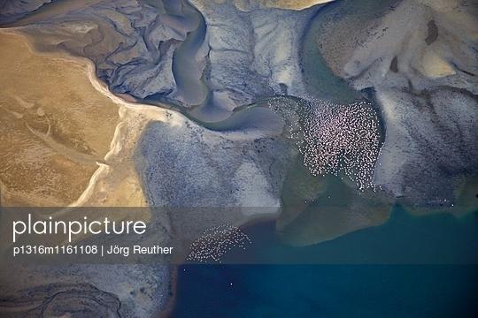 Luftaufnahme, fliegende Flamingos über der Lagune von Sandwich Harbour, Namibia - p1316m1161108 von Jörg Reuther