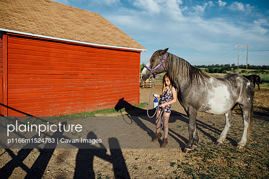 Girl holding spray bottle while standing by horse at barn - p1166m1524783 by Cavan Images