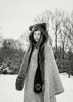 Girl in Animal Hood and Scarf - p1503m2020437 by Deb Schwedhelm