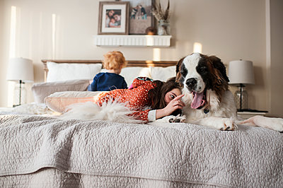Kids lay on bed with large dog while girl tries to touch dogs tongue - p1166m2136726 by Cavan Images