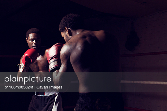 Men practicing fighting in boxing gym - p1166m985824f by Cavan Images
