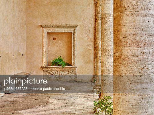 Pope's Palace Palazzo Piccolomini patio with marble columns - p968m987228 by Roberto Pastrovicchio