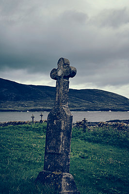 Cemetery on the island of Barra, Scotland - p470m2108830 by Ingrid Michel