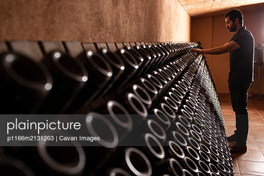 Attentive cellar worker arranging bottles of champagne - p1166m2131263 by Cavan Images