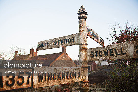 Old style road sign on A357 on the edge of South Cheriton village; Somerset, England - p442m837741f by Paul Quayle