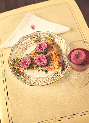 Pizza Slice with Flower Topping on Elegant Plate - p1617m2264281 by Barb McKinney