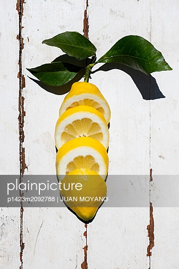 Lemon cut in some slices on a white rustic wooden table - p1423m2092788 by JUAN MOYANO