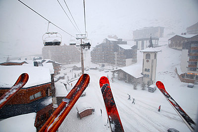 Ski lift and ski pole - p312m799328f by Per Eriksson