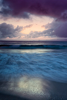 Stormy sky waves long exposure sunset ocean clouds seascape sand - p609m2066476 by WALSH photography