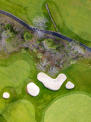 Indonesia, Bali, Aerial view of golf course - p300m2029900 by Konstantin Trubavin