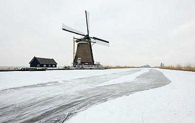 Windmill in snowy landscape - p429m696228f by Mischa Keijser