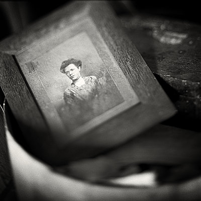 Old Portrait in Wooden Frame - p1154m1138581 by Tom Hogan