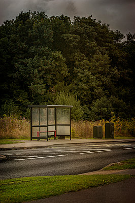 Isolated bus stop - p1047m953669 by Sally Mundy