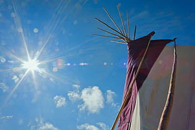 Tepee in the morning, Music festival; Dorset, England - p442m999139 by Doug McKinlay