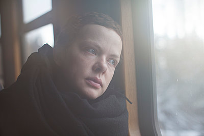 Woman on the train - p906m1362790 by Wassily Zittel