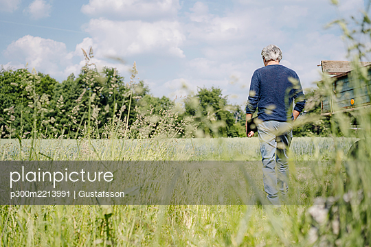 Man with laptop walking on grass in agricultural field - p300m2213991 by Gustafsson