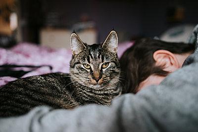 Mädchen und ihre Katze kuscheln auf dem Bett - p1507m2196572 von Emma Grann
