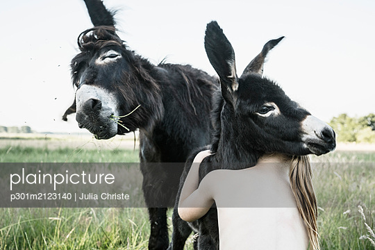 Bare chested girl hugging baby donkey in rural field - p301m2123140 by Julia Christe