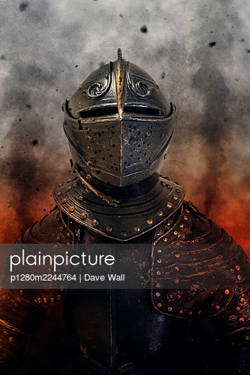 Medieval knight's armour against battlefield - p1280m2244764 by Dave Wall